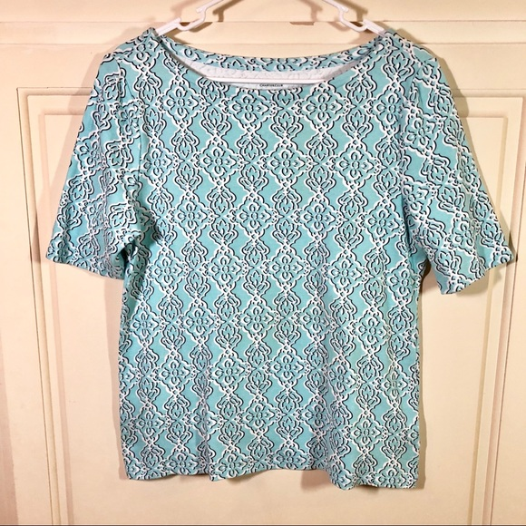 Charter Club Tops - Charter Club Aqua Pima Cotton SS Graphic Tee Sz L